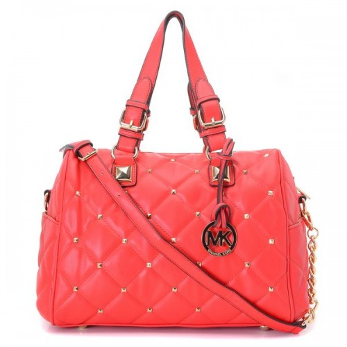 Michael Kors Stud Quilted Satchel Red